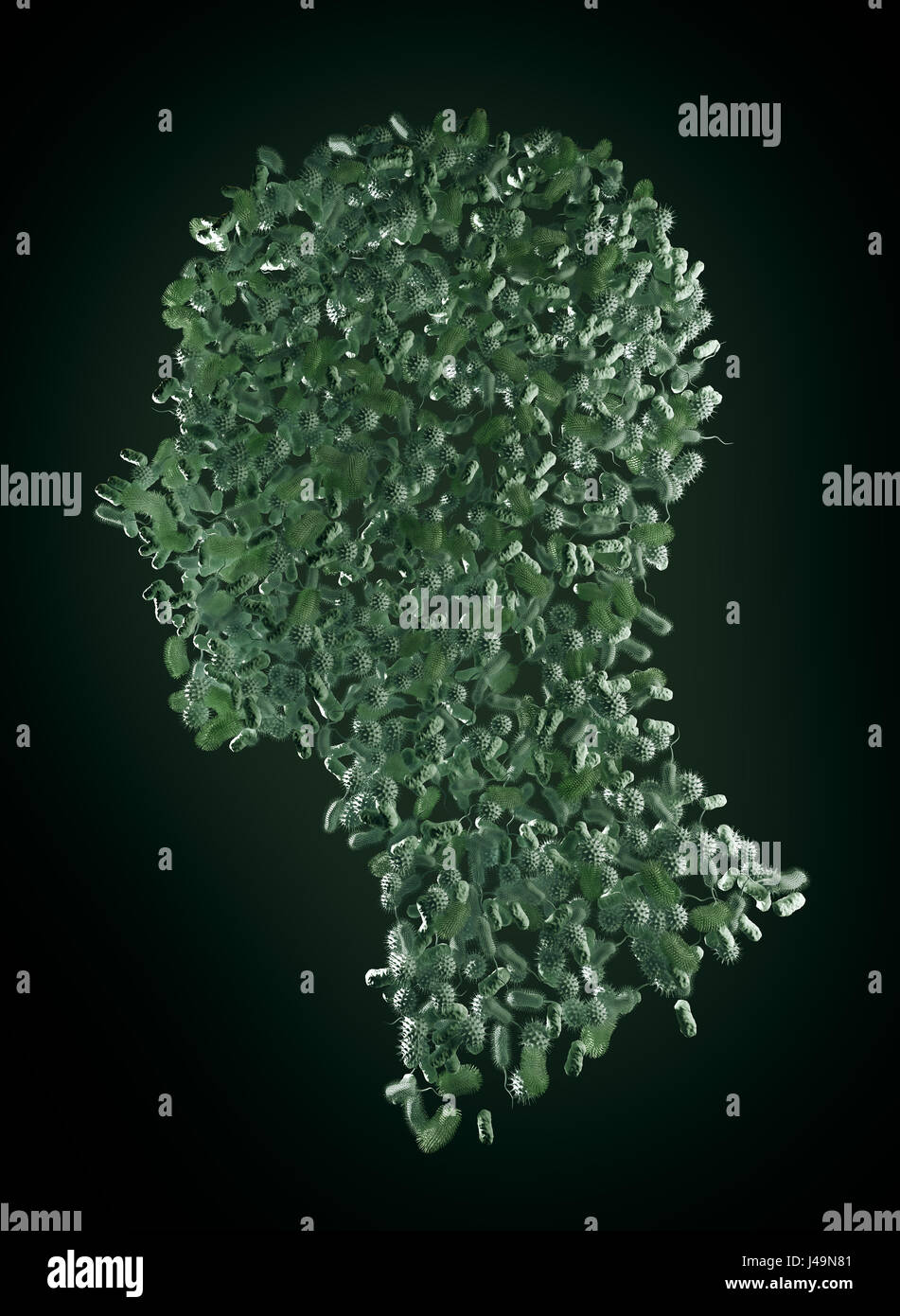 Bacteria forming a human body - microbiome and probiotics concept 3D illustration. - Stock Image