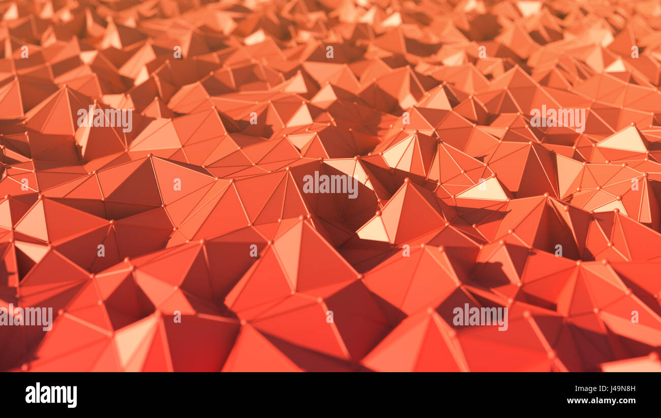 Abstract low polygon style background - 3D illustration - Stock Image