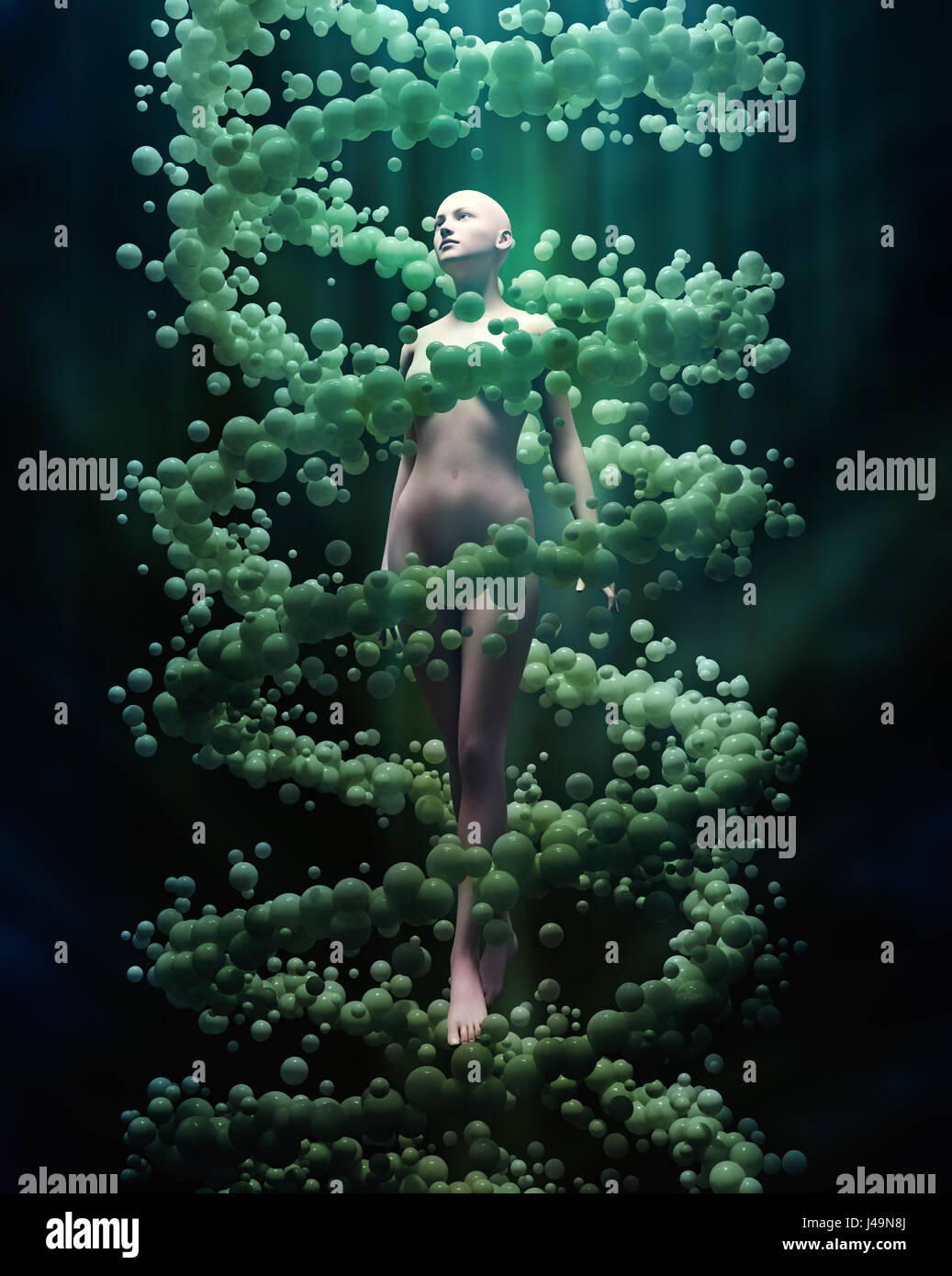 DNA and personal genetics concept 3D illustration - Stock Image