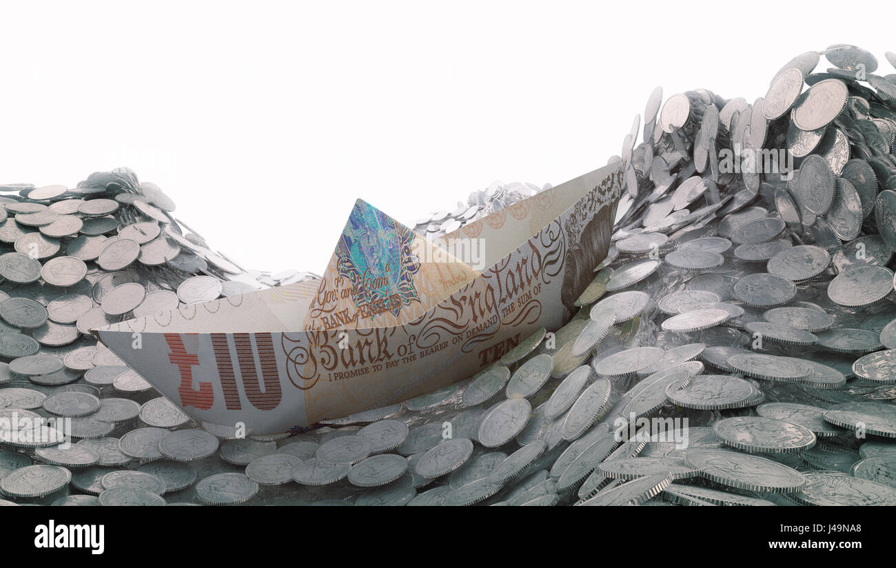 A paper ship made out of a ten pound banknote heading into an iceberg - 3d illustration - Stock Image