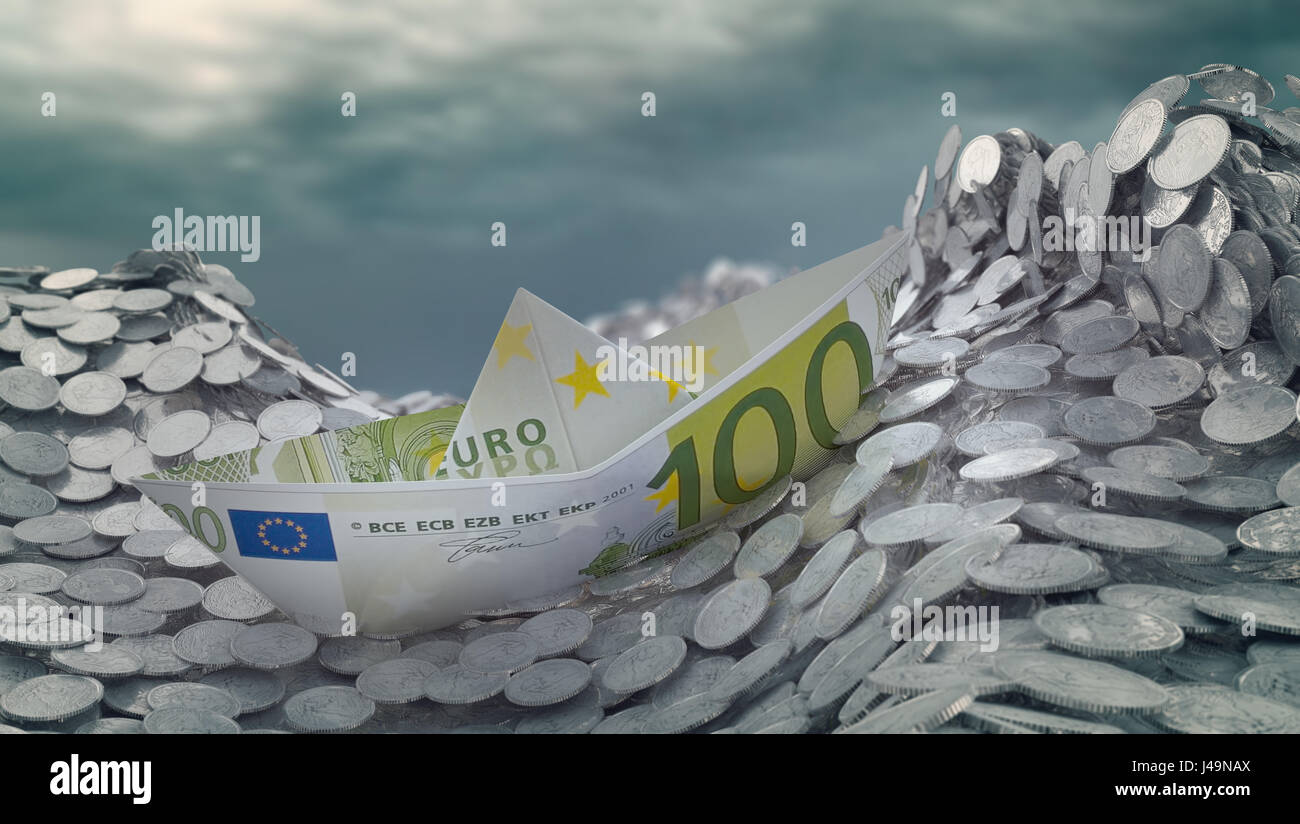A paper ship made out of a Euro banknote heading into an iceberg - 3d illustration - Stock Image