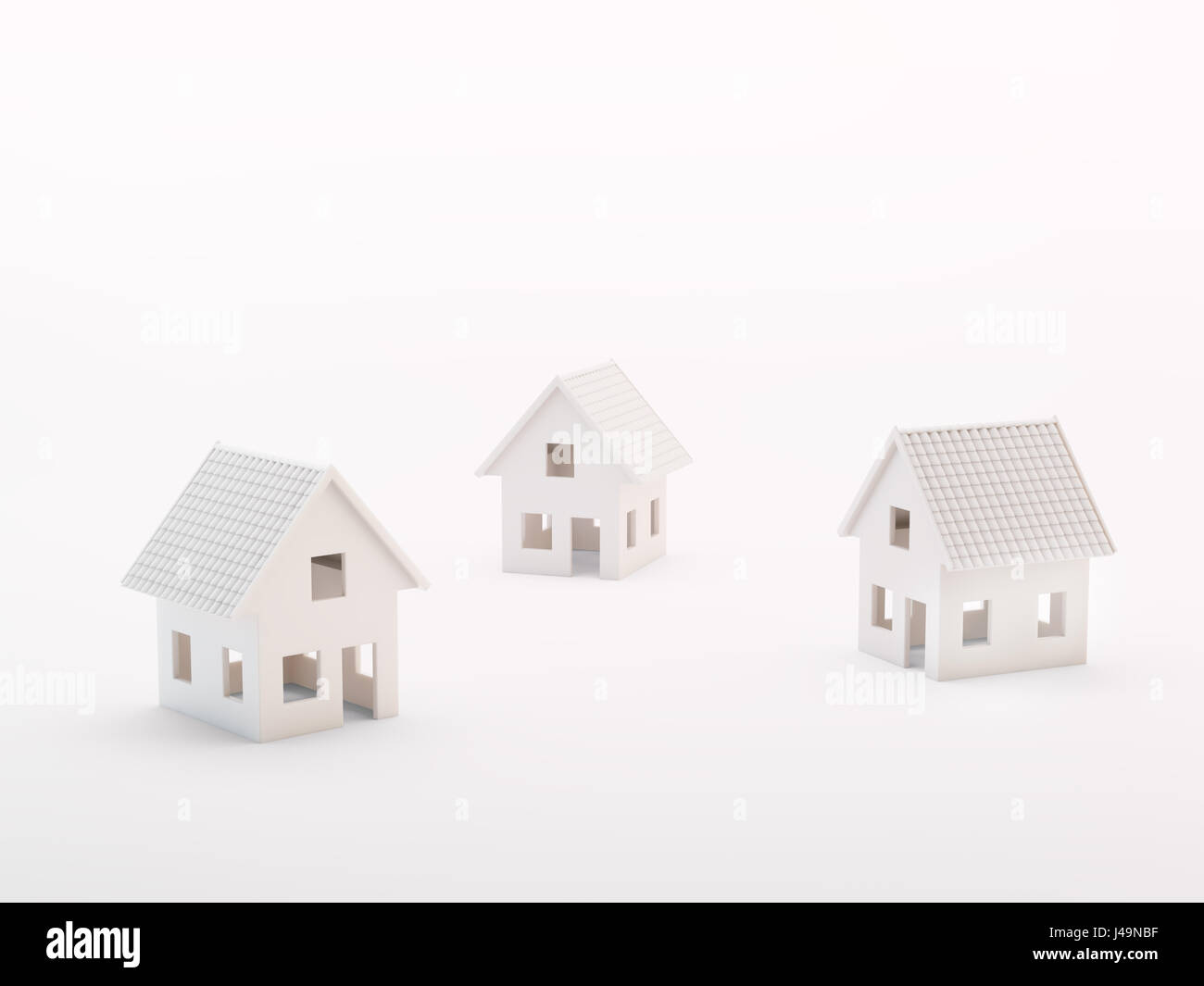 Three small model houses - real estate concept 3d illustration - Stock Image