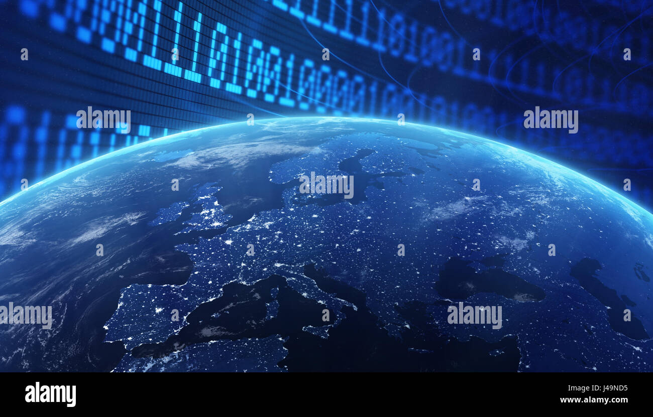 World with a binary code background - internet concept 3d illustration - Stock Image