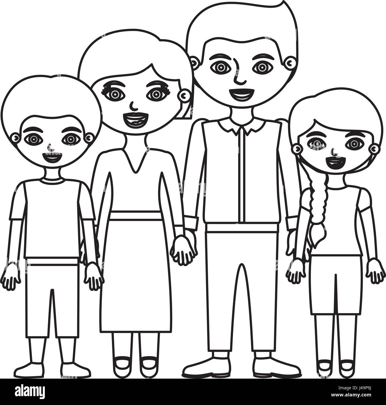 Sketch Silhouette Family Group With Parents In Formal Suit