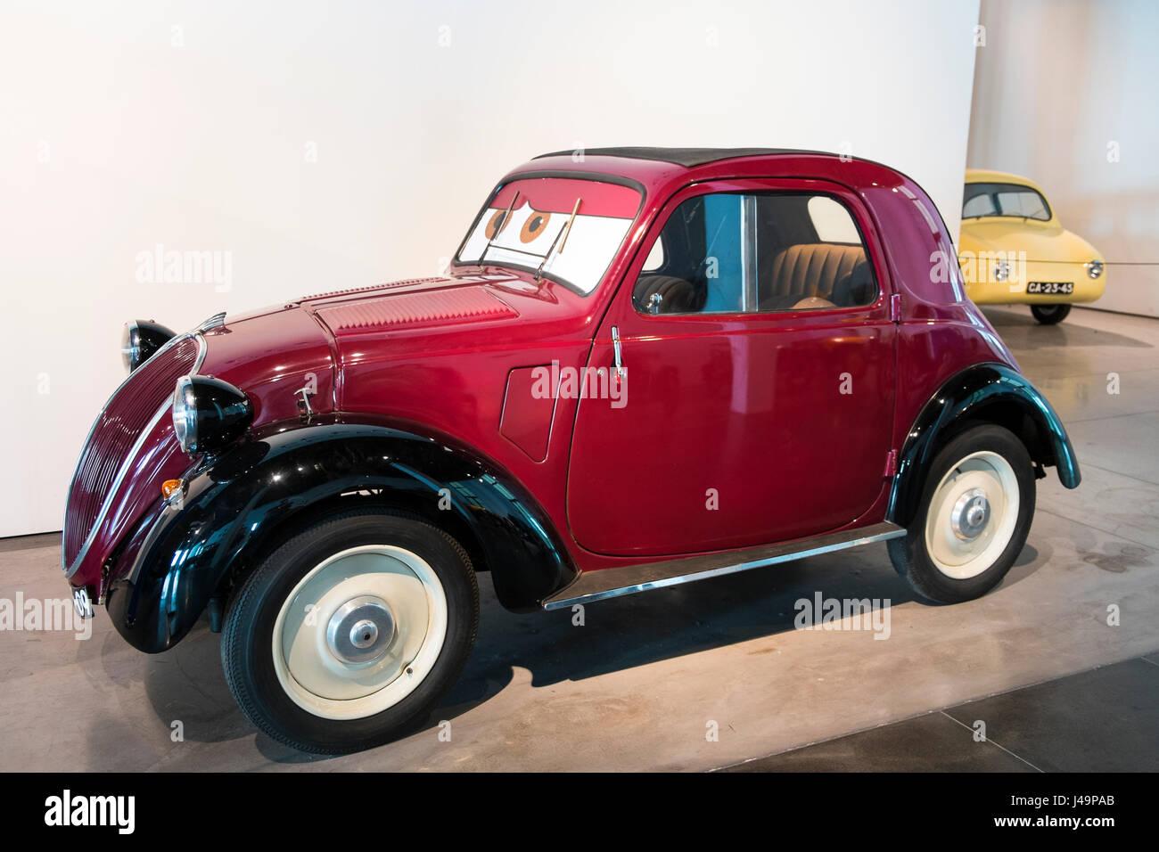 1936 Fiat 500 'Topolino'. Automobile museum of Málaga. Andalusia, Spain. - Stock Image