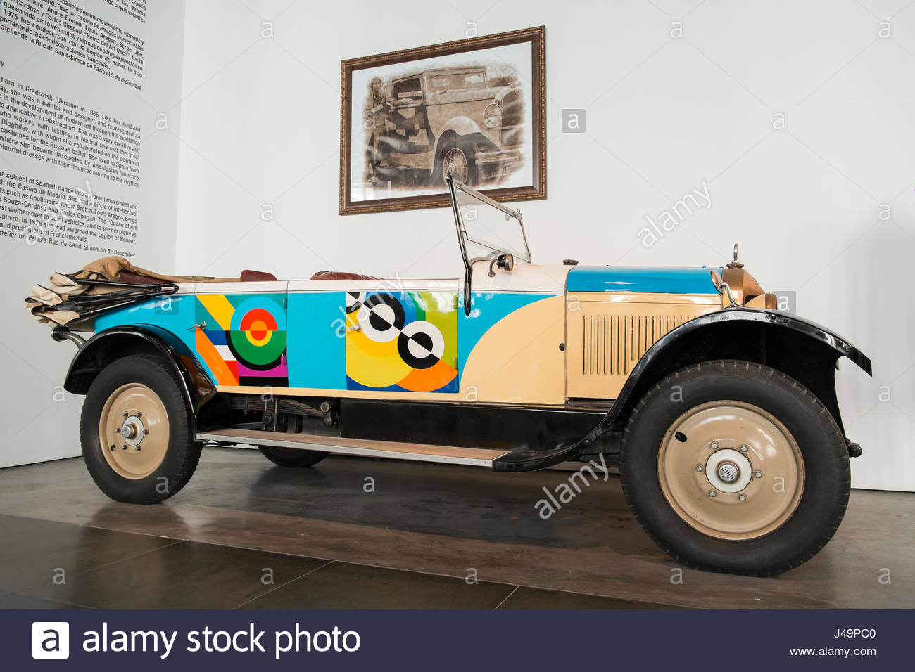 1920 Unic. Sonia Delaunay. Automobile museum of Málaga, Andalusia, Spain. - Stock Image