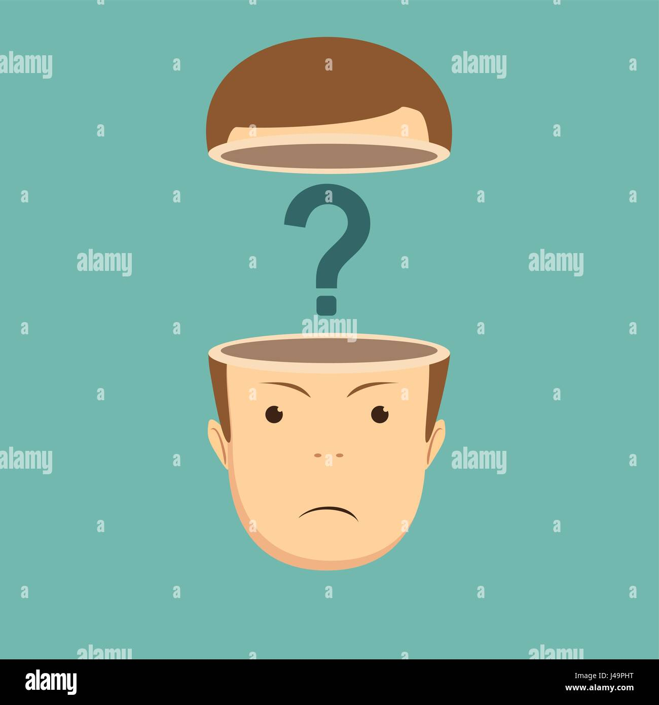 human head open with question mark - Stock Image