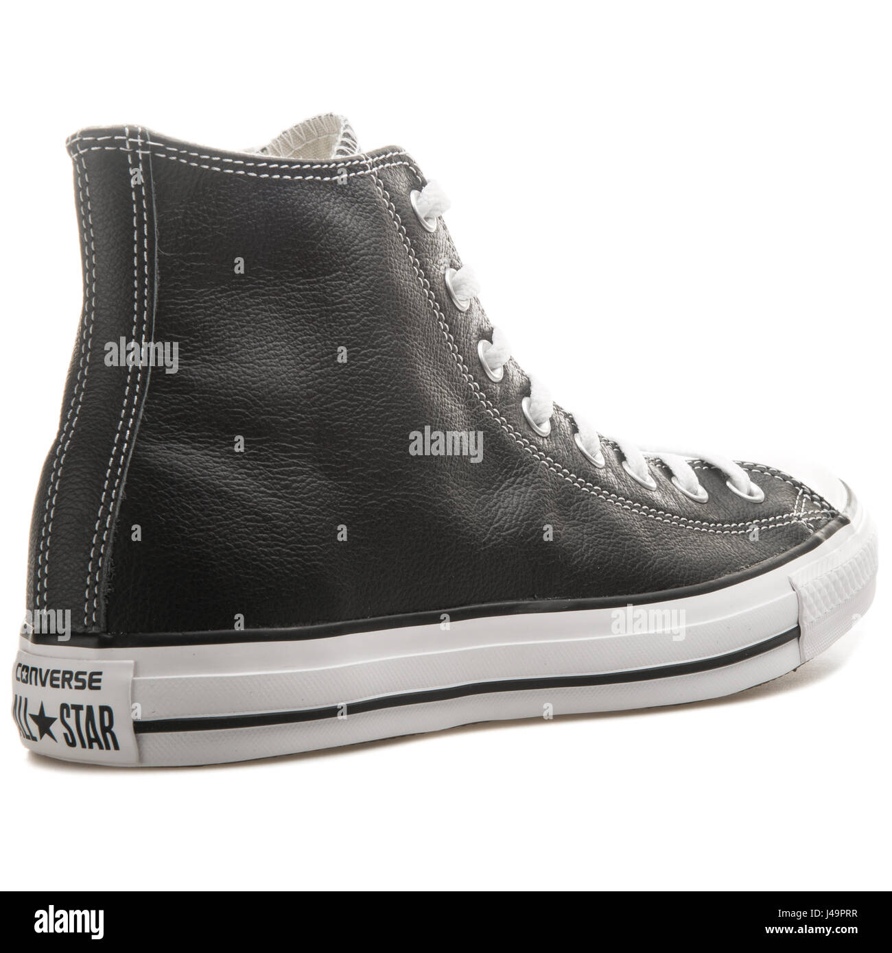 884f28ec9d7c Converse Chuck Taylor All Star Hi Black Leather Shoe - 132170C - Stock Image