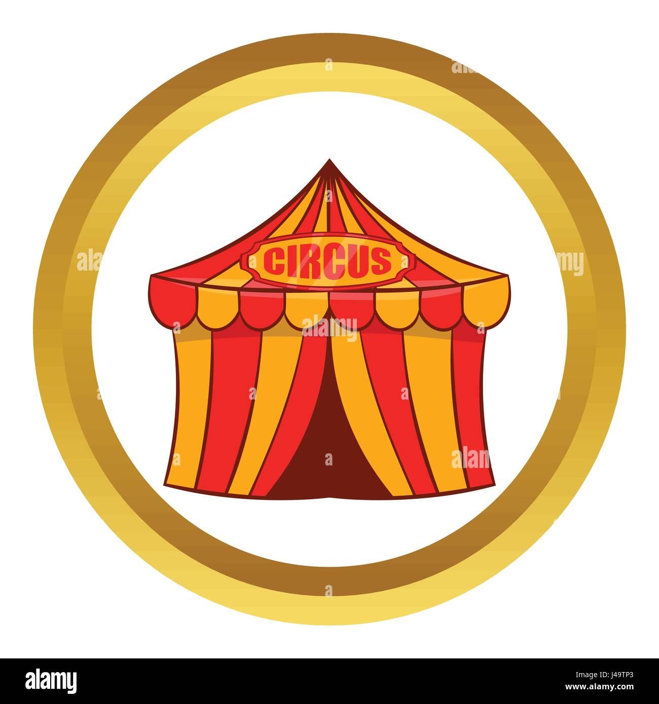 Circus tent vector icon, cartoon style - Stock Image