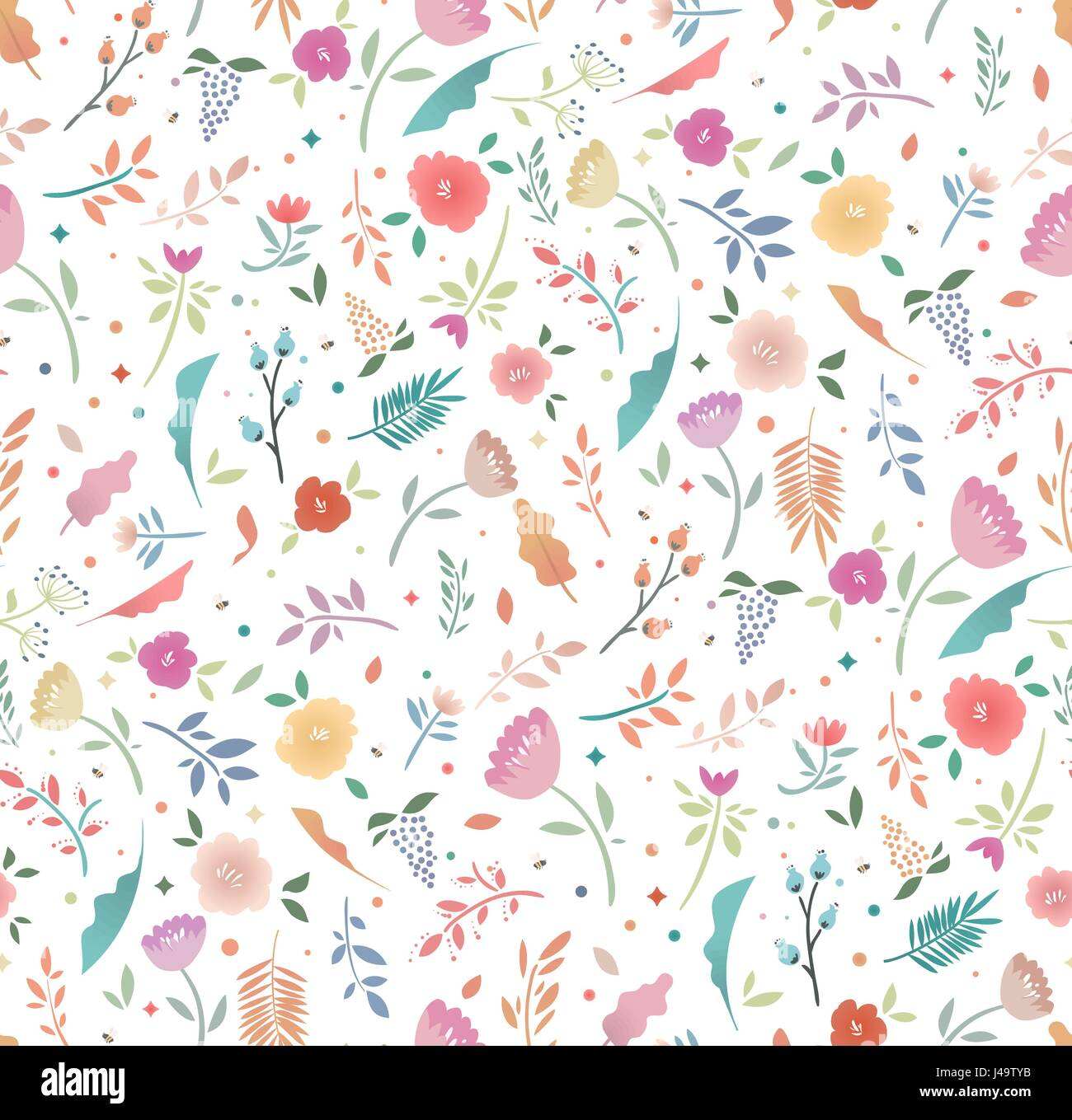 Spring Seamless Floral Pattern On A White Background Bright