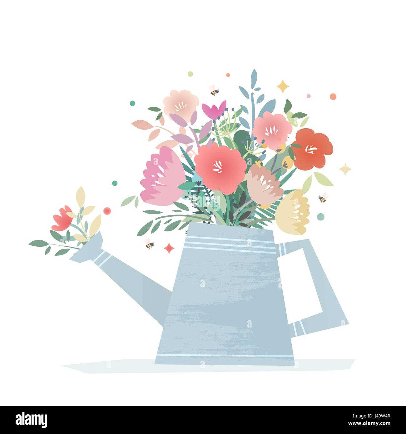 A bright composition of flowers in a garden watering can. Harvest Flower Mason Jar. Wedding vector illustration Stock Vector