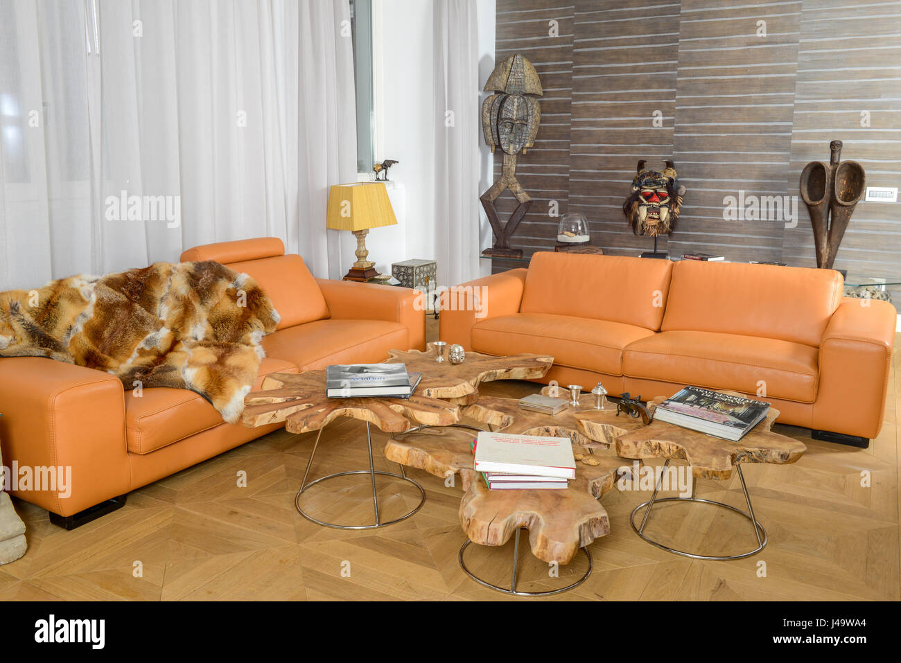 Modern living room with African decorations Stock Photo ...