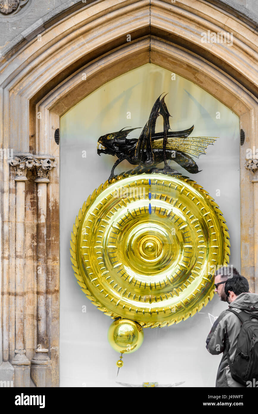 Twelve o'clock midday on the large clock and chronophage (time-eater) designed by John Taylor and installed - Stock Image