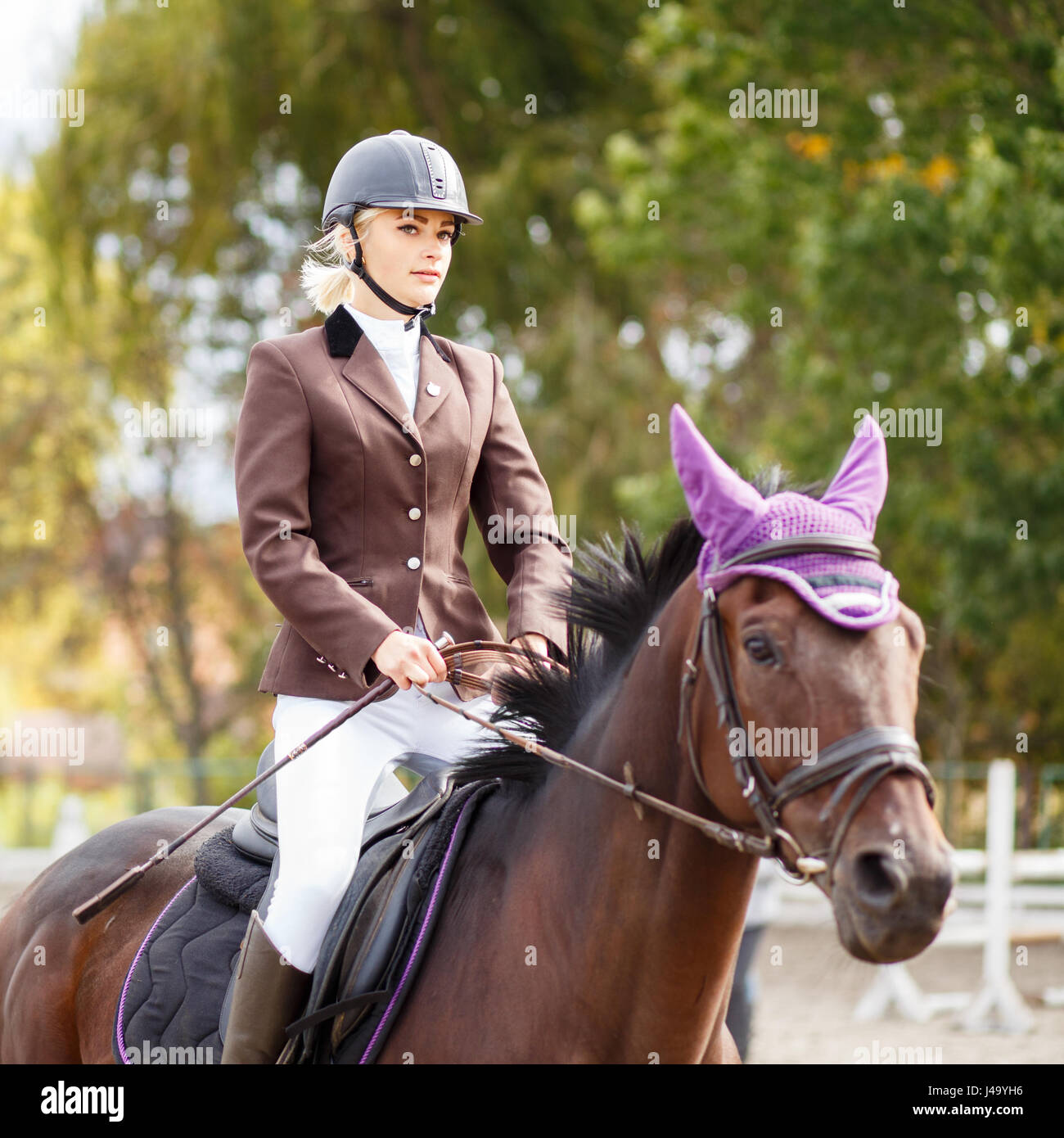 Young rider girl on horse at dressage competition. Equestrian sport background - Stock Image