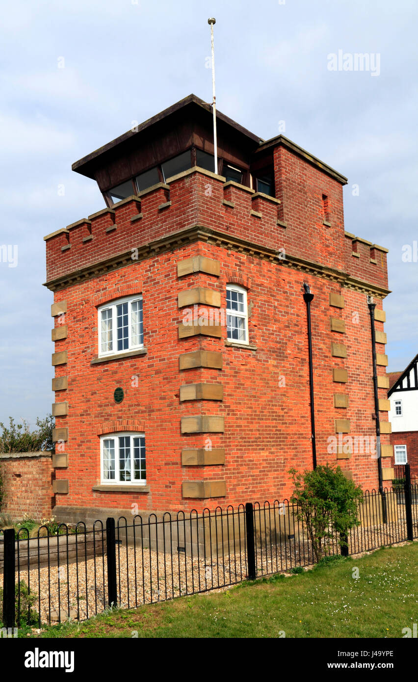 Former coastguard lookout tower and Marconi wartime listening post, on coastal clifftop, Hunstanton Norfolk UK, - Stock Image