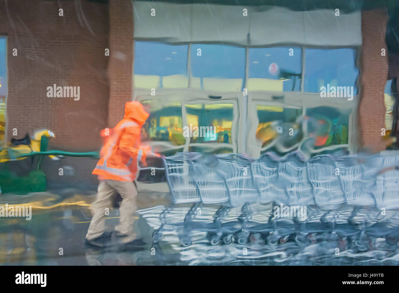 Rain warped view of parking lot attendant pushing shopping carts back to store - Stock Image