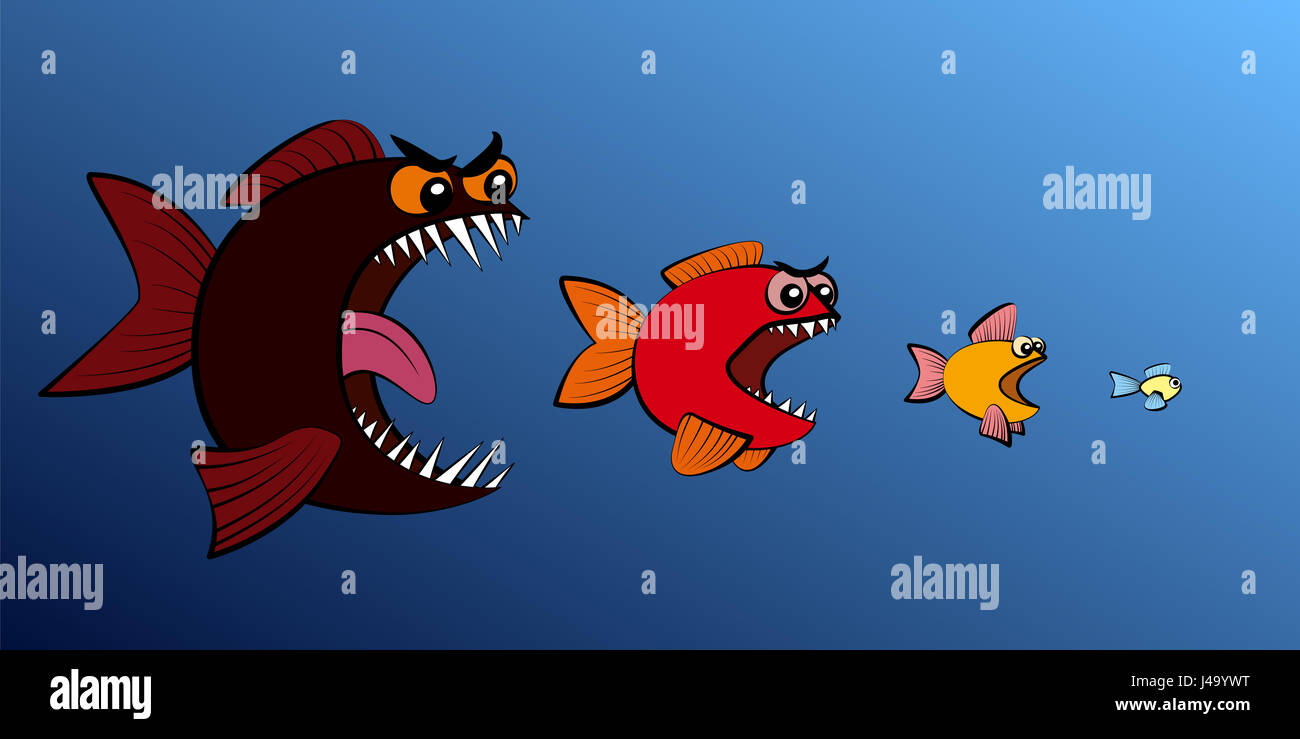Big Fish Eats Small Fish Symbol For Food Chain Business Takeover