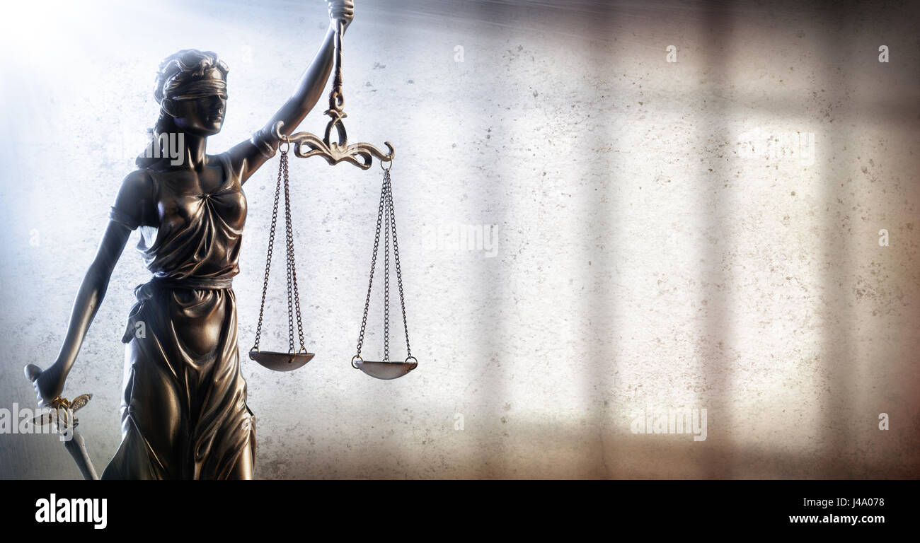 Lady Justice And Prison - Penal Justice Concept - Stock Image