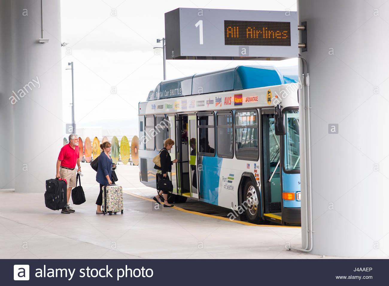 3632171ee Passengers boarding Shuttle bus at Seattle-Tacoma International ...