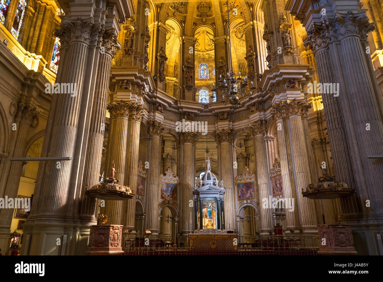 Cathedral interior Malaga Spain. La Santa Iglesia Catedral Basilica de la Encarnacion, Málaga - Stock Image