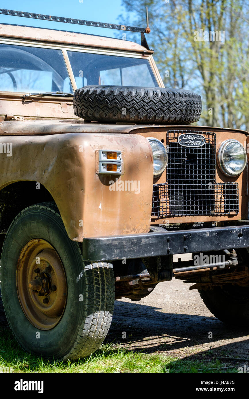 1963 ,old Land Rover Series IIa, Series 2a, Series 2, 88, pick-up truck, 4x4 all-terrain vehicle, modified, front - Stock Image