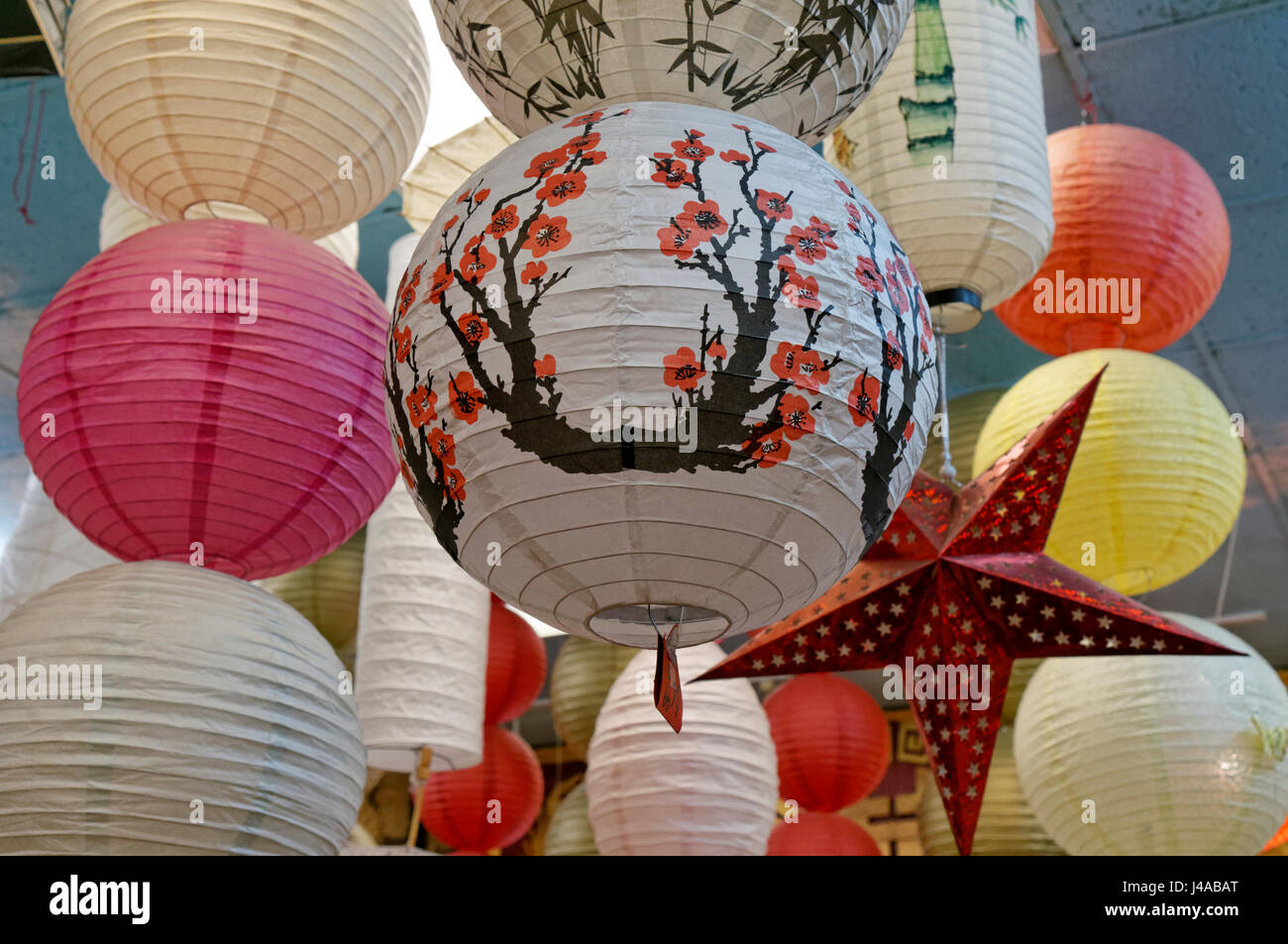 colorful chinese paper lanterns for sale in chinatown vancouver