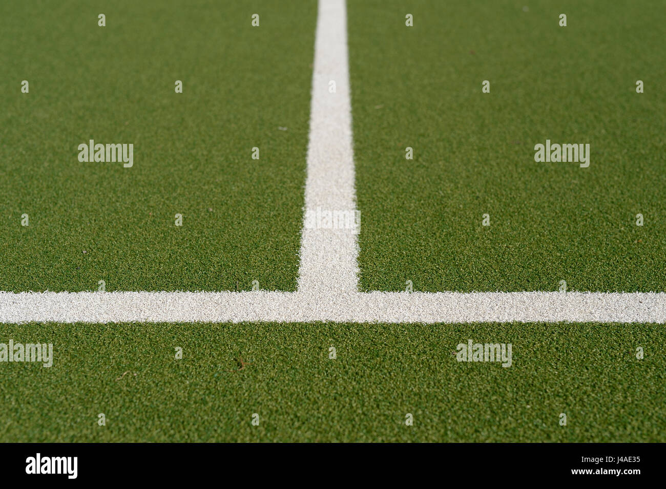 Pitch markings on astro turf hockey pitc. - Stock Image