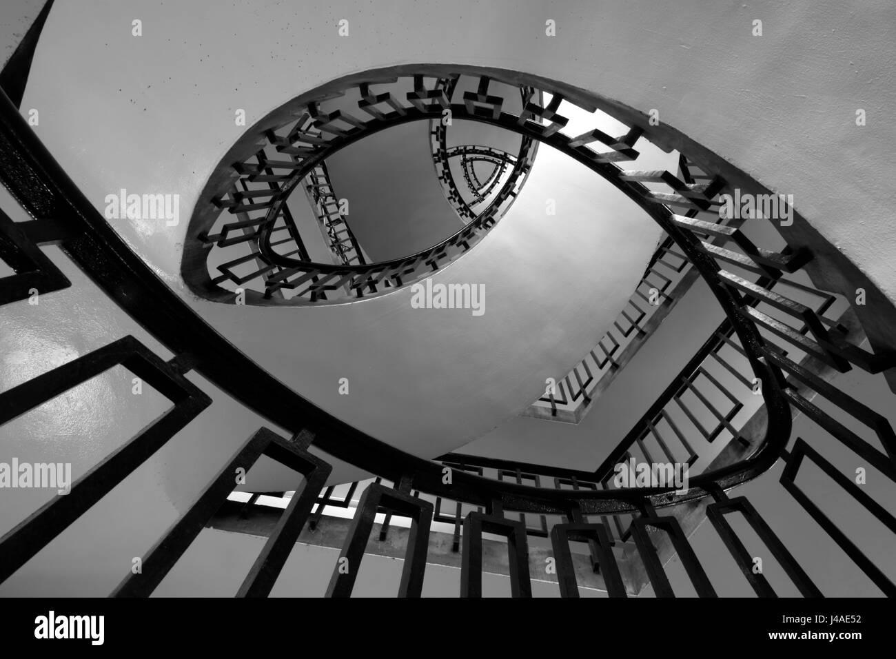 Lubetkin staircase in George Loveless House, Dorset Estate, Bethnal Green, London, UK - Stock Image