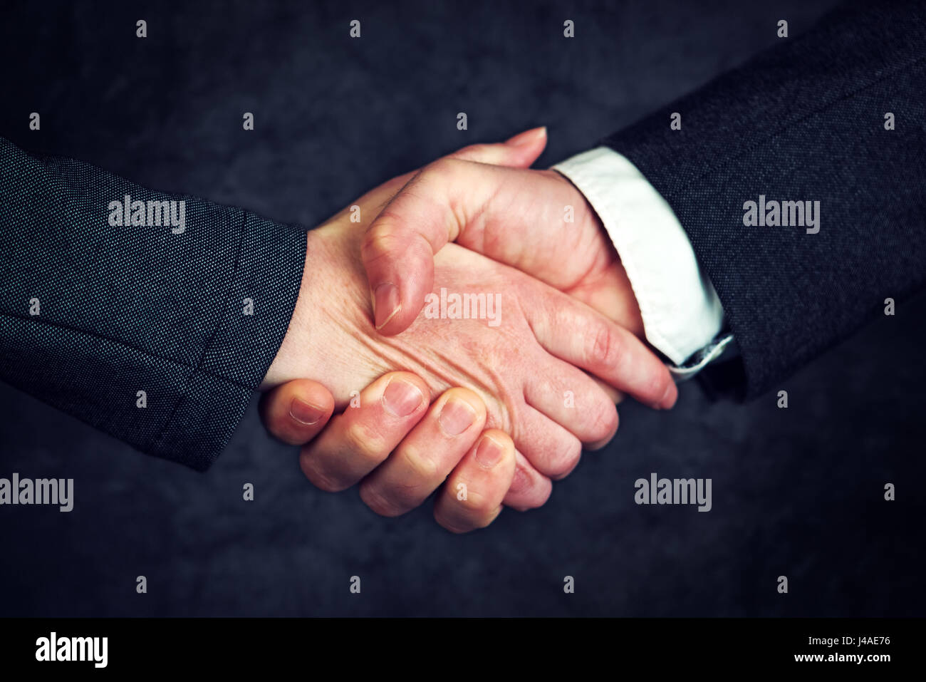 Joint enterprise handshake over business agreement, male and female businesspeople shaking hands after forming a - Stock Image