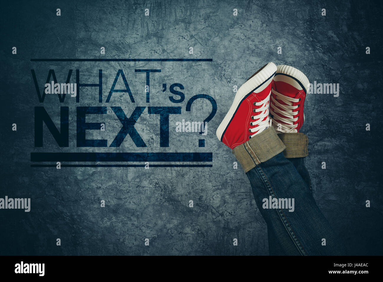What's next concept, with young person in casual sneakers making plans and setting goals, youth lifestyle and - Stock Image
