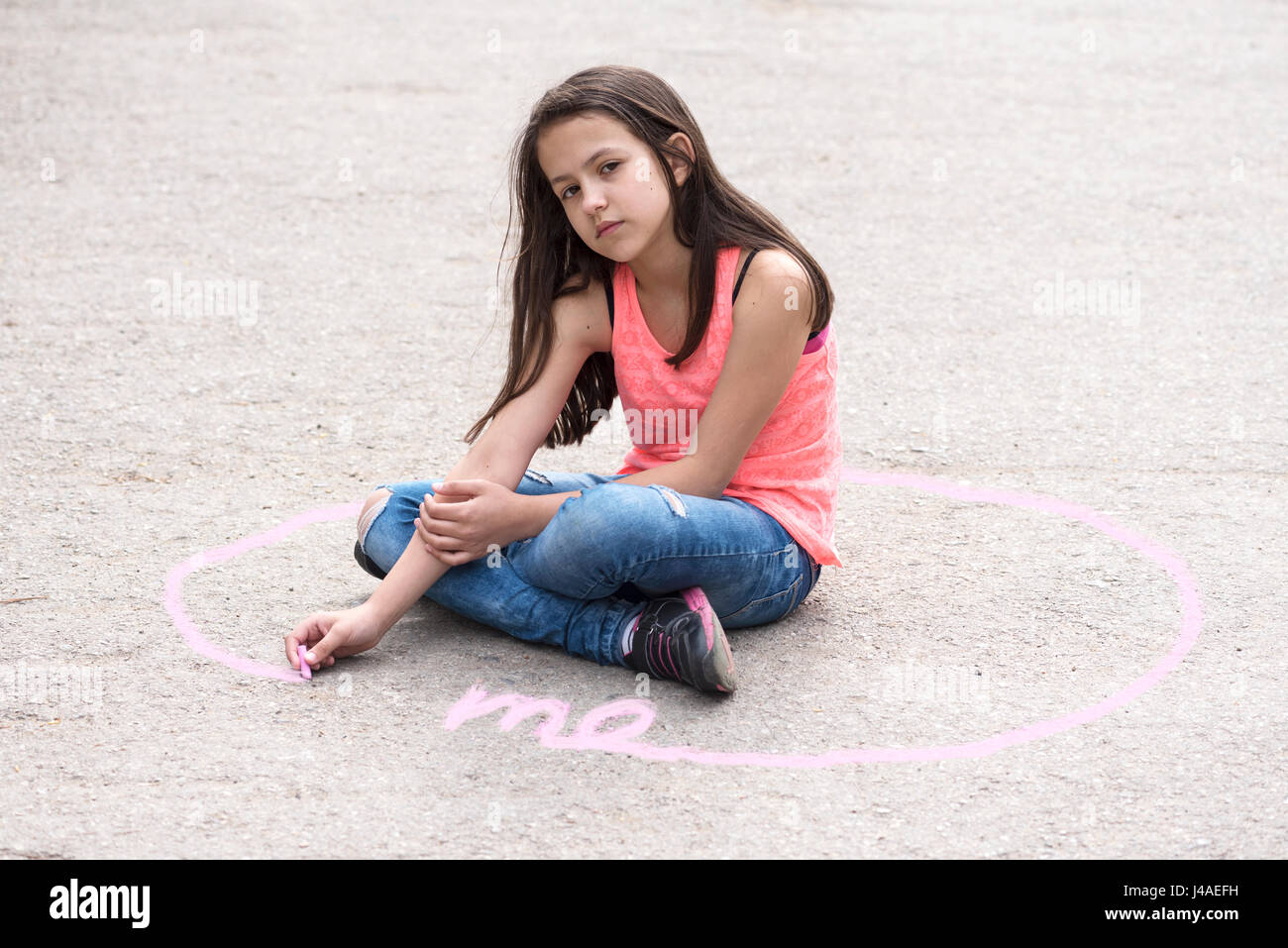 Intimate zone and body language with preteen girl - Stock Image