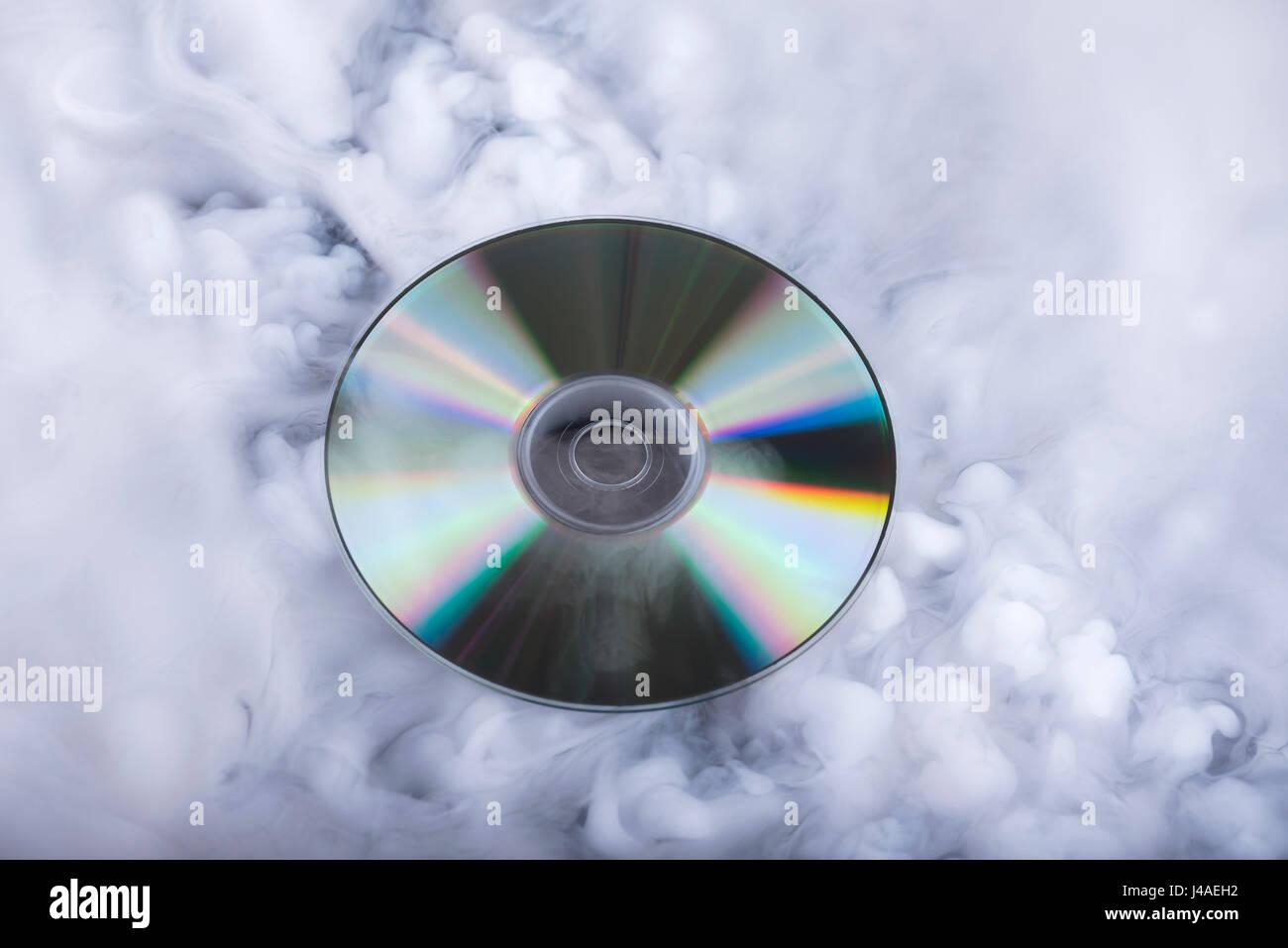 Compact disk  Soundcloud  Conceptual image Stock Photo