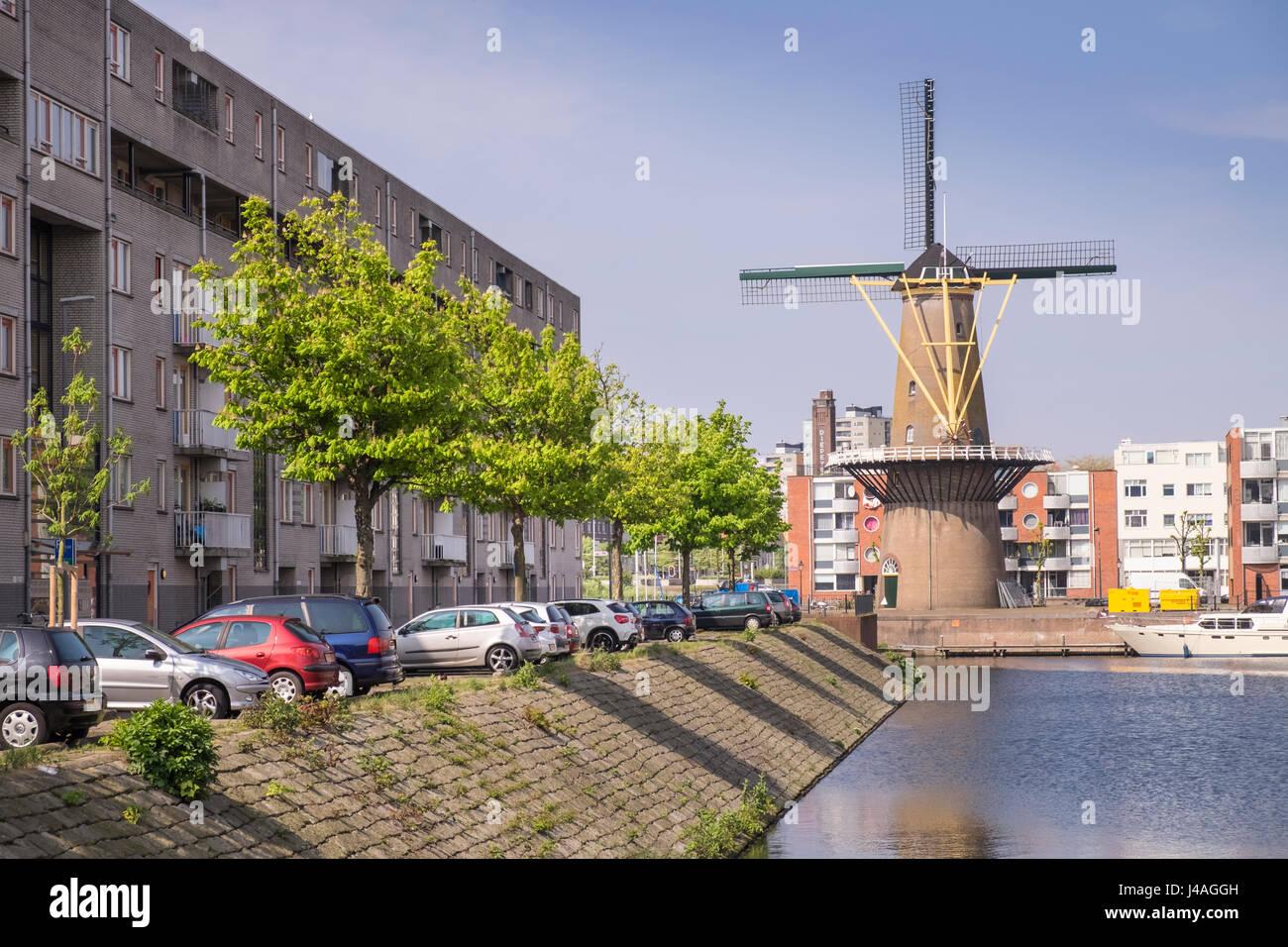 Windmill at Delfshaven, Rotterdam, The Netherlands. Stock Photo