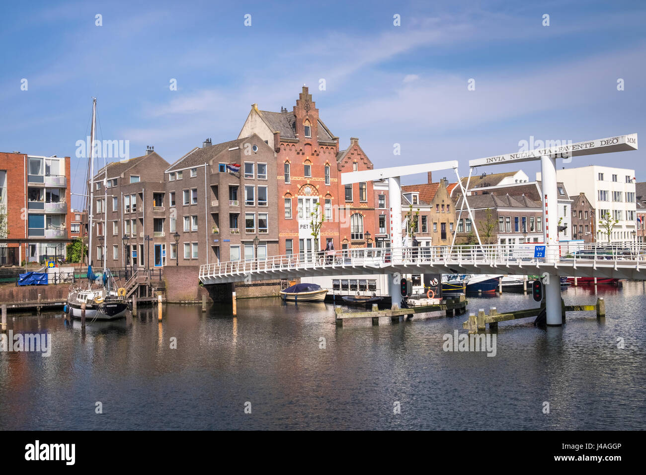 Boats and traditional dutch architecture in the historic area of Delfshaven, Rotterdam, The Netherlands. Stock Photo