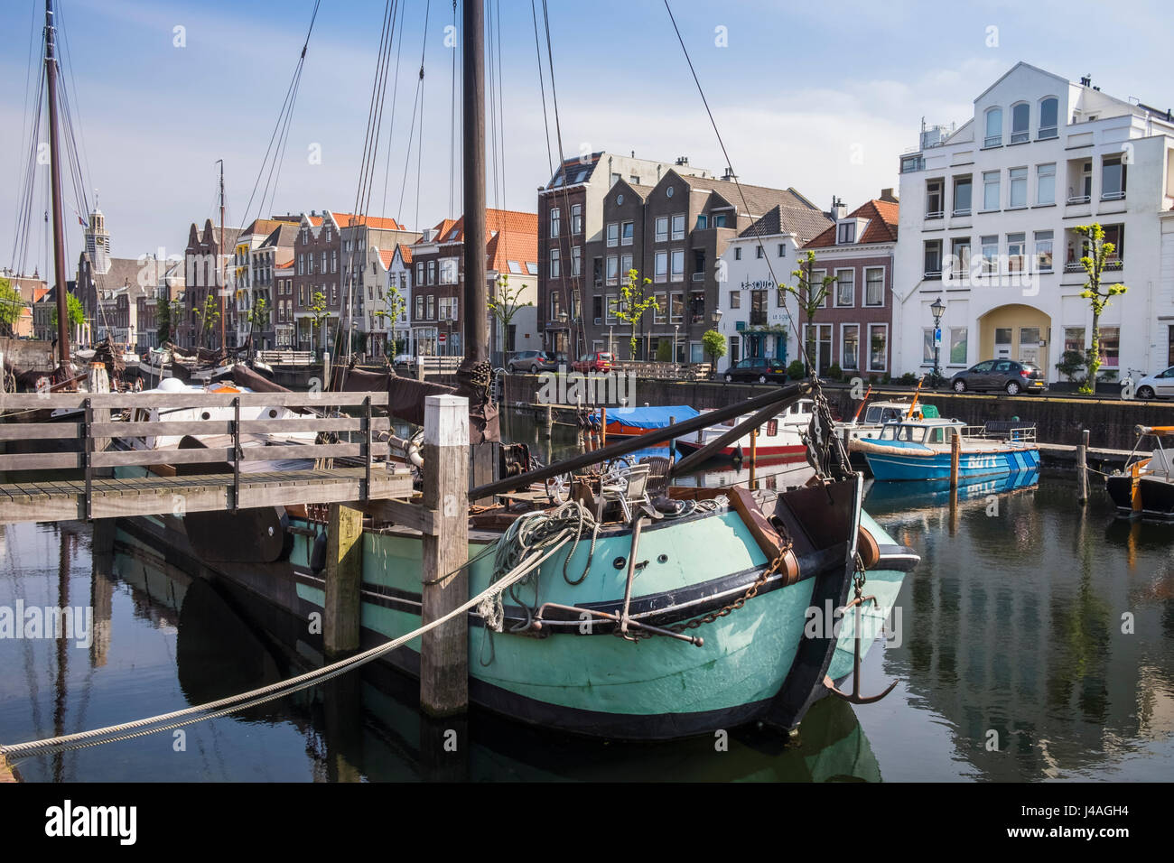 Boats moored in the historic area of Delfshaven, Rotterdam, The Netherlands Stock Photo