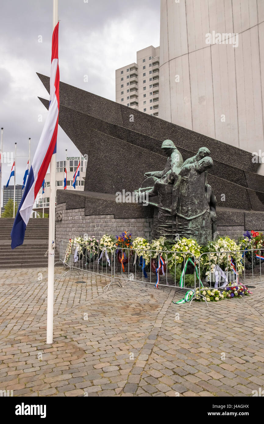 War memorial laid with wreaths on annual Liberation Day of 5 May. - Stock Image