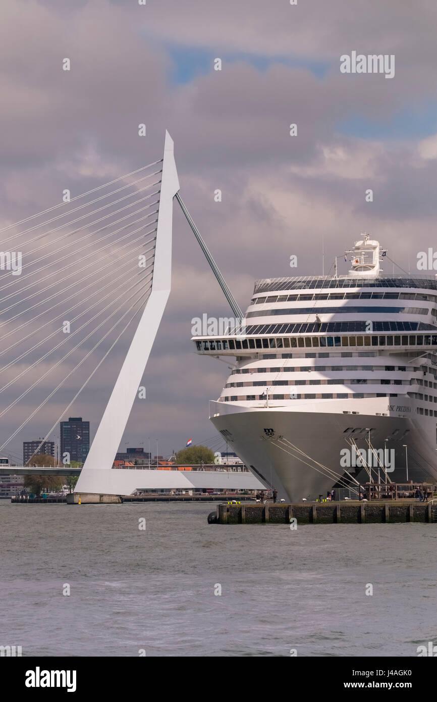 Modern large cruise ship at Wilhelmina Pier, with Erasmusbrug (Erasmus Bridge) in the background, Katendrecht, Rotterdam, Stock Photo