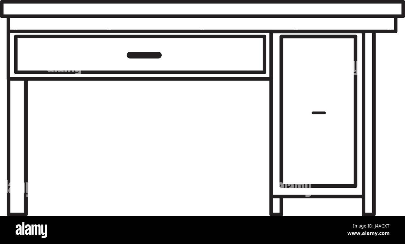 Office Desk Wooden Drawer Handle Furniture Outline