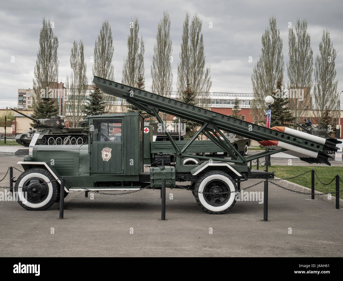 Katyusha Rocket Launcher Mounted on a BM8 truck - Stock Image