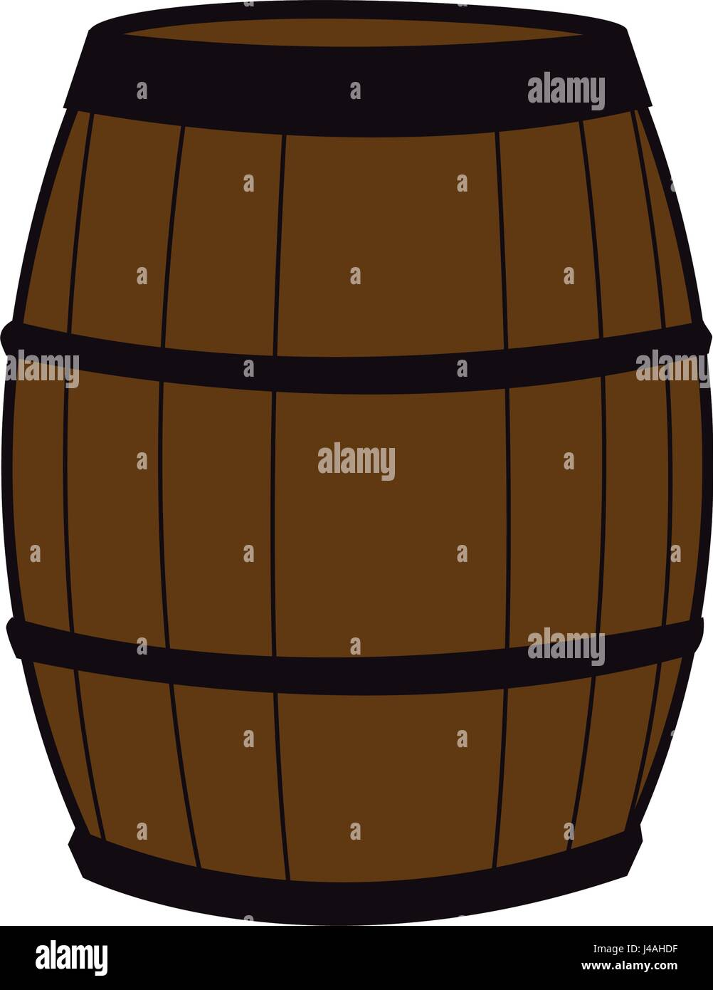 wooden barrel for wine with steel ring Stock Vector