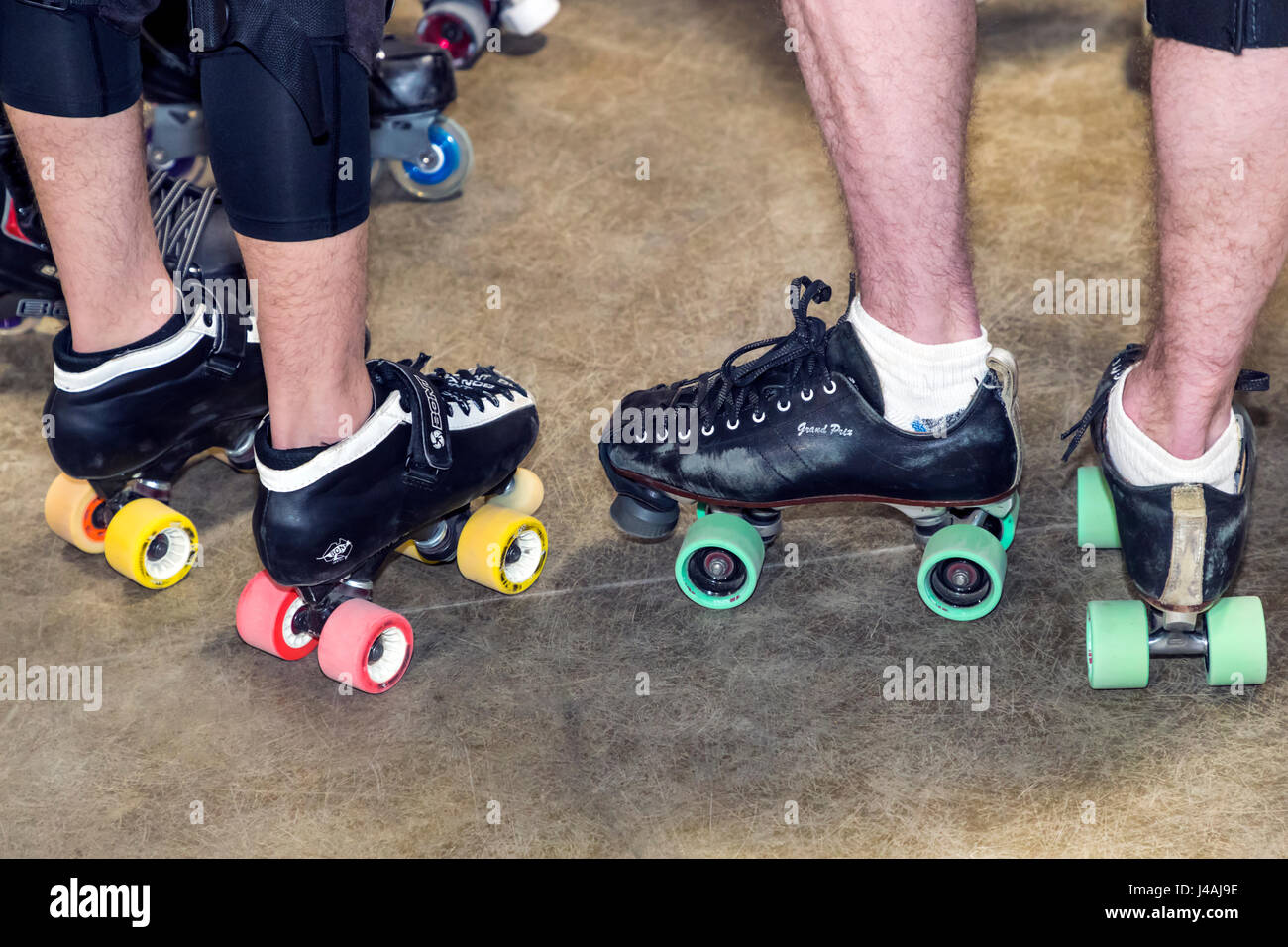 Referees roller skates at woman's competition in the Ark Valley High Rollers Roller Derby, Chaffee County Fairgrounds, - Stock Image