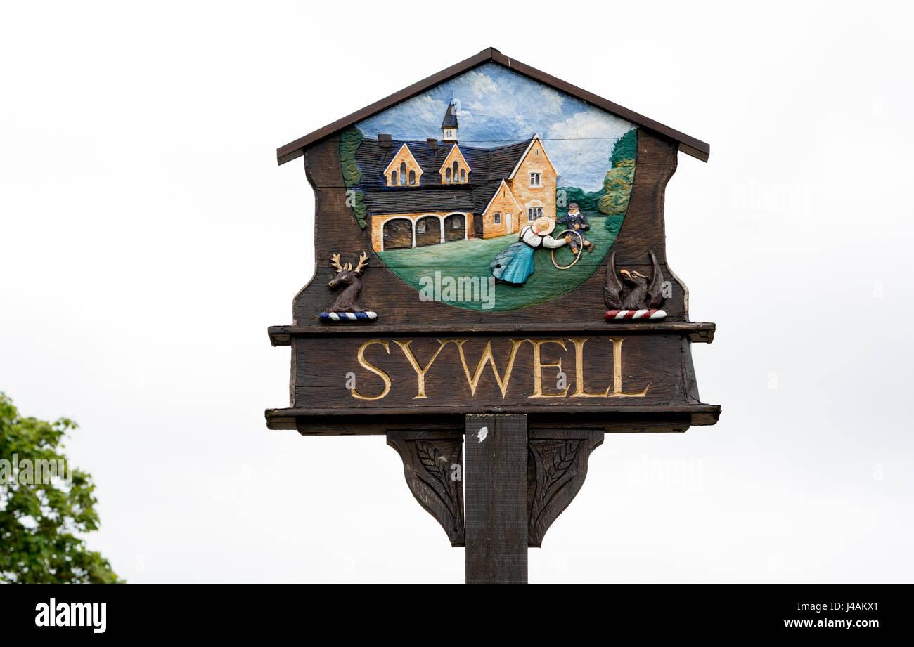 Sywell village sign, Northamptonshire, England, UK - Stock Image