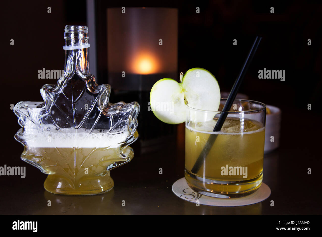 A whisky sour cocktail served with maple syrup at the Fairmont Hotel in Vancouver, Canada. - Stock Image