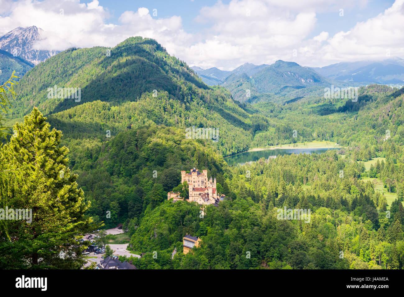Hohenschwangau Castle, Romanesque Revival palace, Hohenschwangau, Fussen, Bavaria, Germany - Stock Image