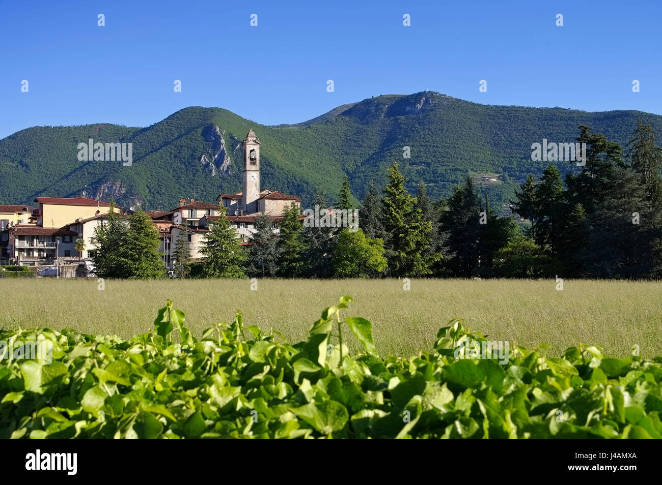 Clusane old church on Iseo lake, Lombardy in Italy - Stock Image
