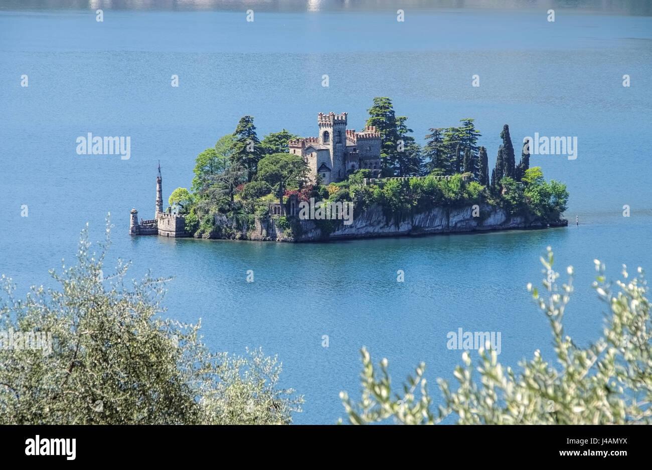 Loreto island in Iseo lake, Lombardy in Italy - Stock Image