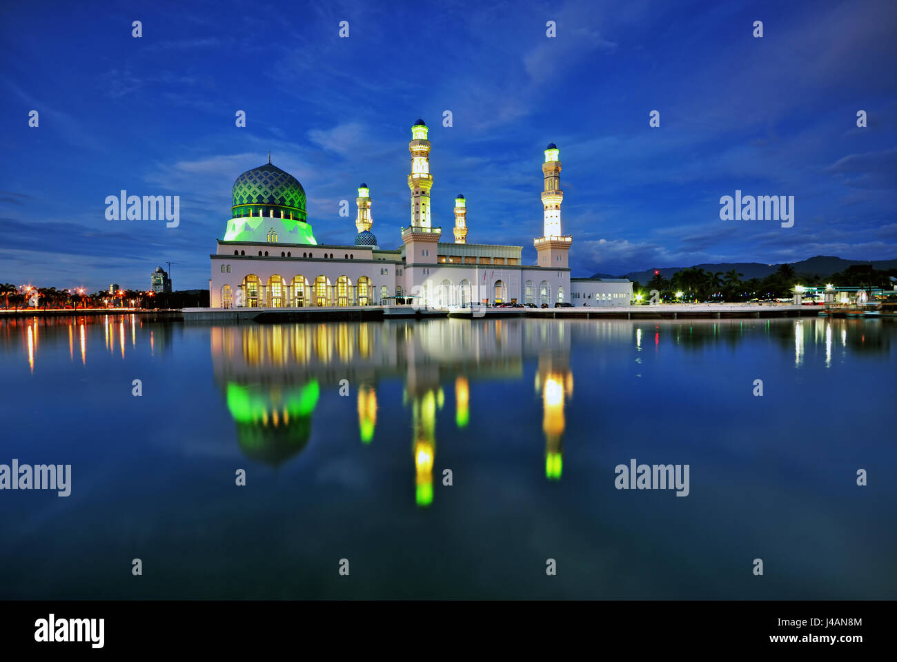 Night scene of Kota Kinabalu city Mosque, Sabah Borneo, Malaysia. Stock Photo