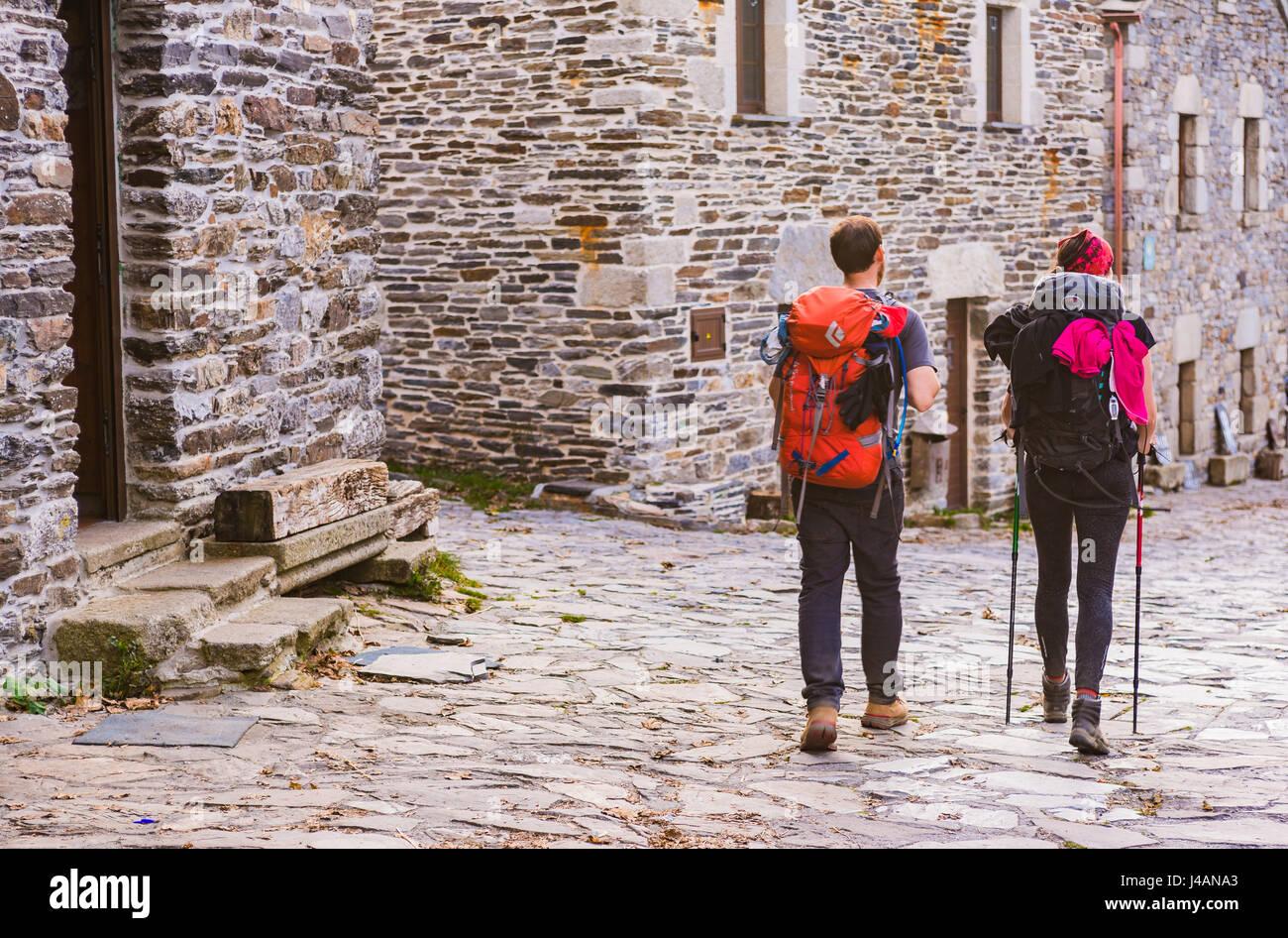 Pilgrims doing the Way of St. James. O Cebreiro. Pedrafita do Cebreiro,Lugo, Galicia, Spain, Europe - Stock Image
