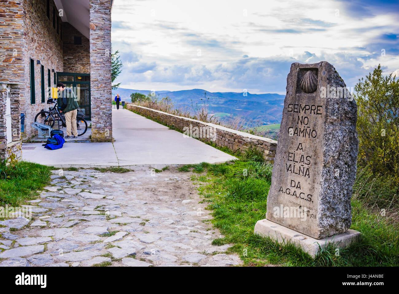 Refuge of pilgrims. O Cebreiro, Pedrafita do Cebreiro, Lugo, Galicia, Spain, Europe - Stock Image