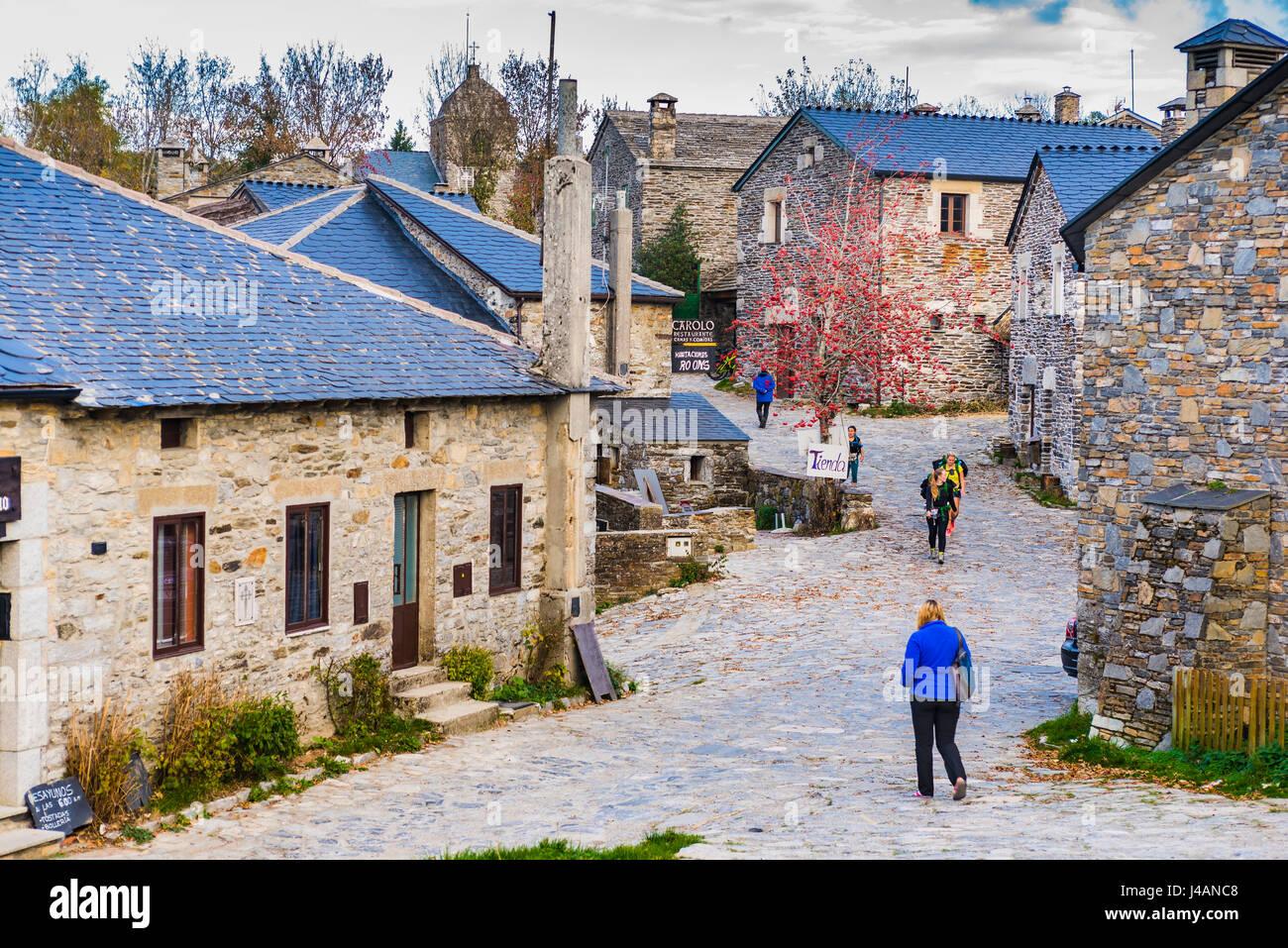 The historic village of O Cebreiro. Pedrafita do Cebreiro, O Cebreiro, Lugo, Galicia, Spain, Europe - Stock Image